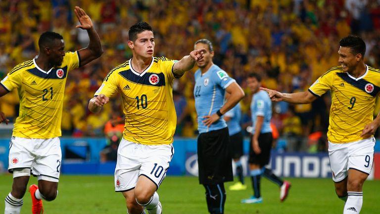 James Rodriguez: Celebrates his second goal