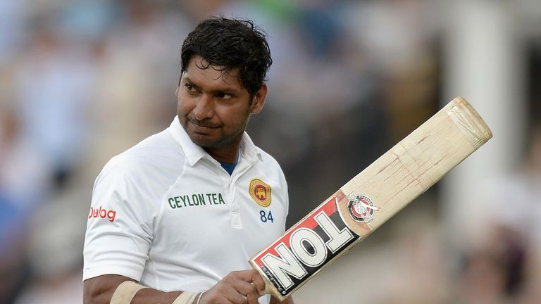 Kumar Sangakkara salutes the Lord's crown after his dismissal