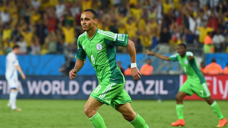 Peter Odemwingie celebrates after scoring against Bosnia