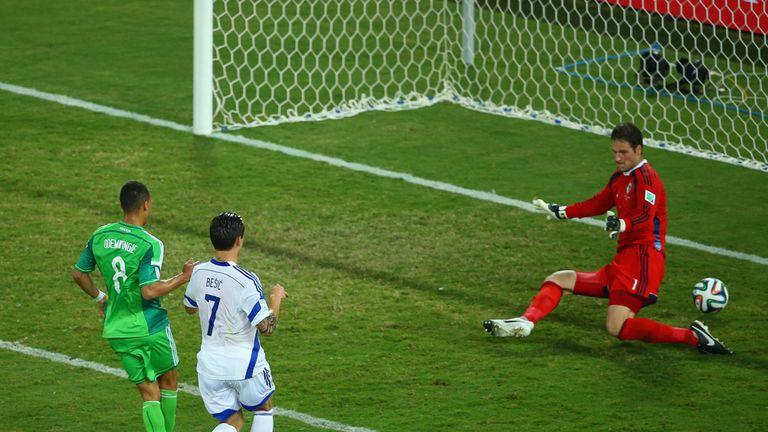 Odemwingie beats Stoke team-mate Asmir Begovic