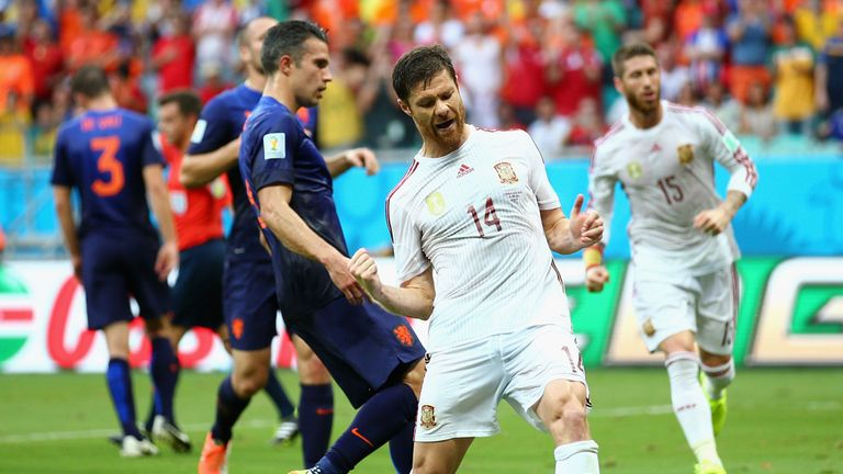 Xabi Alonso scored a penalty before the Netherlands turned it around