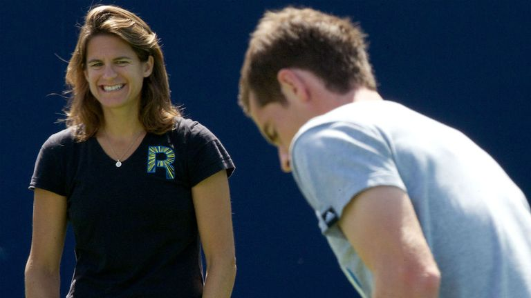 Andy Murray trains with French coach Amelie Mauresmo