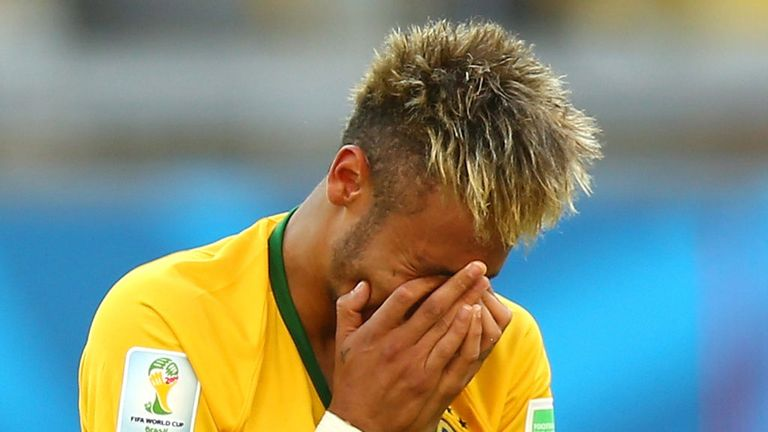 An emotional Neymar after Brazil's World Cup last-16 win over Chile in Belo Horizonte