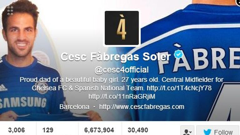 Cesc Fabregas was quick to update his Twitter account upon signing for Chelsea