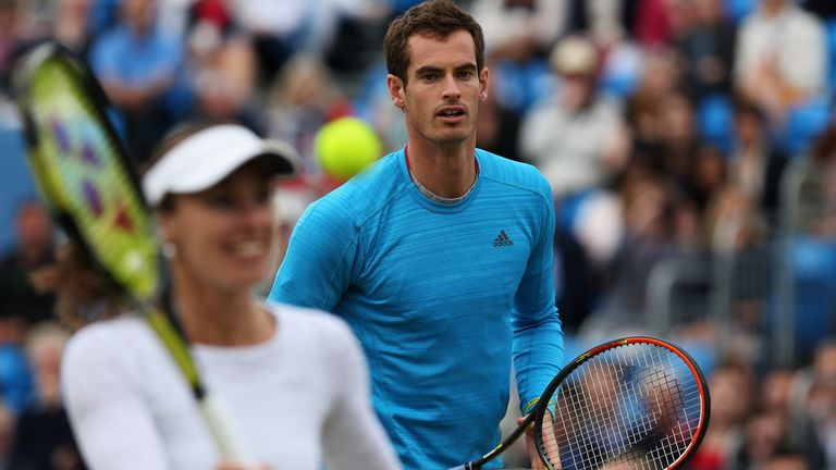 Andy Murray and Martina Hingis play in a 'Rally for Bally' charity event at Queen's Club