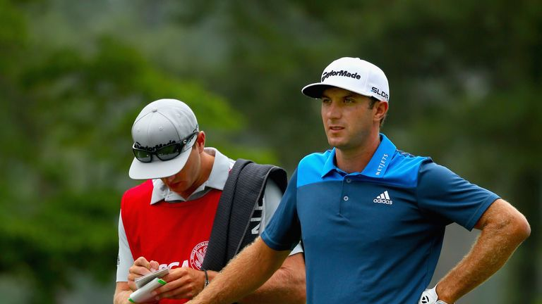 Dustin Johnson with his brother/caddie Austin during the second round of the U.S. Open at Pinehurst