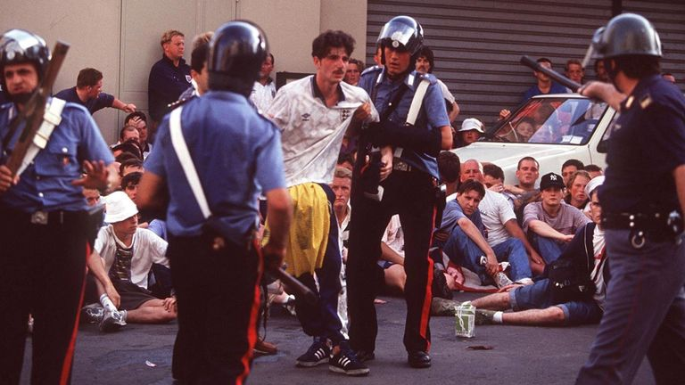 England fans in trouble at Italia '90