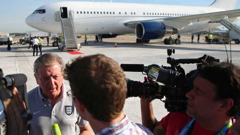 Roy Hodgson: Speaks to the media after landing in Rio