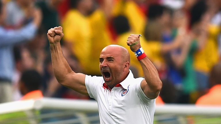 Jorge Sampaoli: Reacts to Chile's first goal