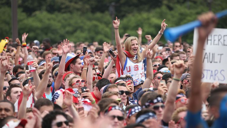 Around 20,000 USA fans were watching their nation's World Cup adventure in Grant Park, Chicago.