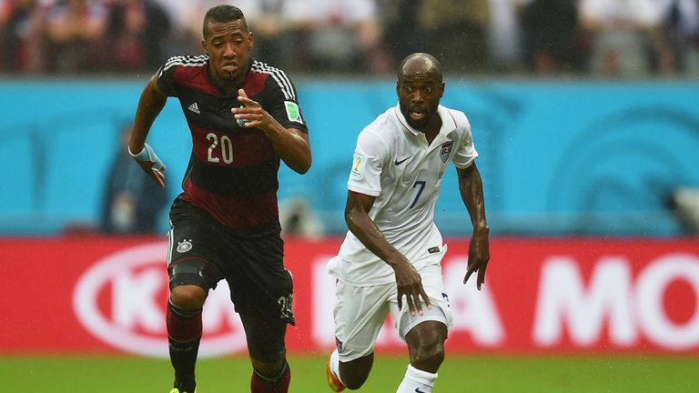 Jerome Boateng: Tussles with DaMarcus Beasley for the ball