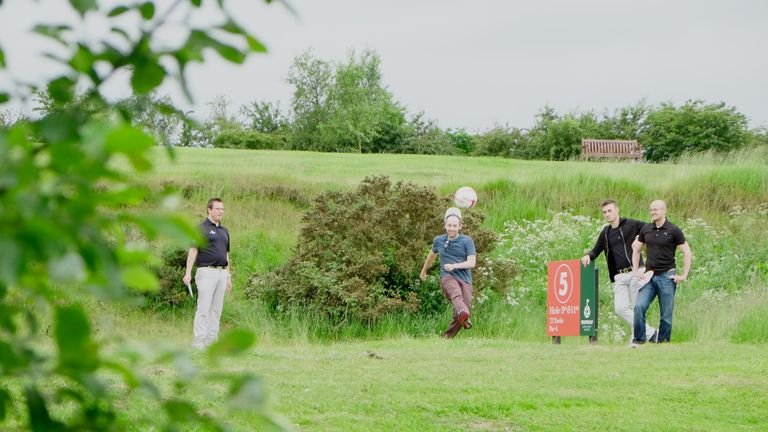 The winning team at the footgolf launch at Leeds (pic: Leeds Golf Centre)