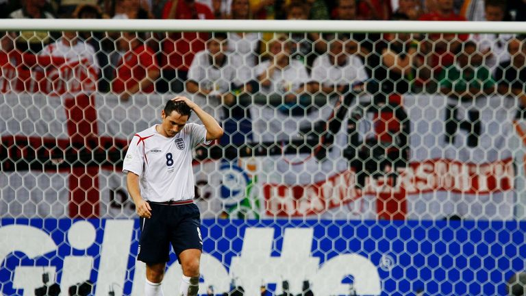 Frank Lampard misses his penalty against Portugal at the 2006 World Cup
