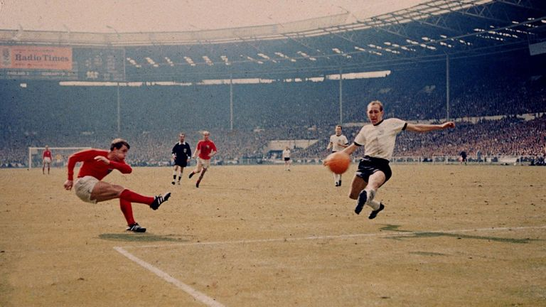 Did it cross the line? Hurst scores his controversial goal against West Germany in the final at Wembley