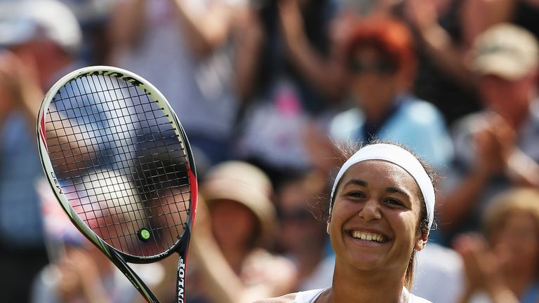 Heather Watson celebrates  her first round win at Wimbledon