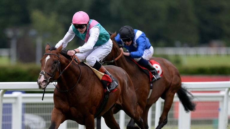 Kings Fete (left) ridden by jockey James Doyle comes home to win the Betfred 'england Expects' Ebf Maiden Stakes during Betfred Raceday at Sandown Park Rac