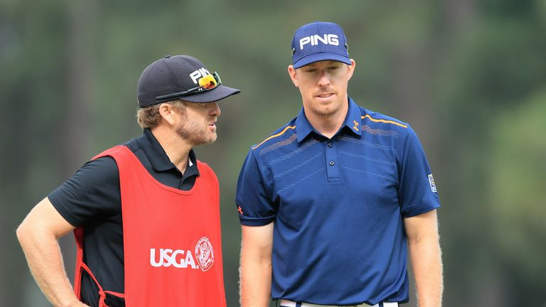 Hunter Mahan and caddie John Wood during the second round of the US Open