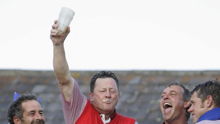 Woosnam camples victory, and a Guinness after winning as captain at The K Club