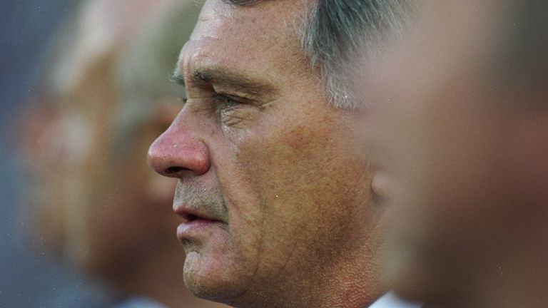 Sir Bobby Robson managed England for the last time as they came so close to winning the World Cup