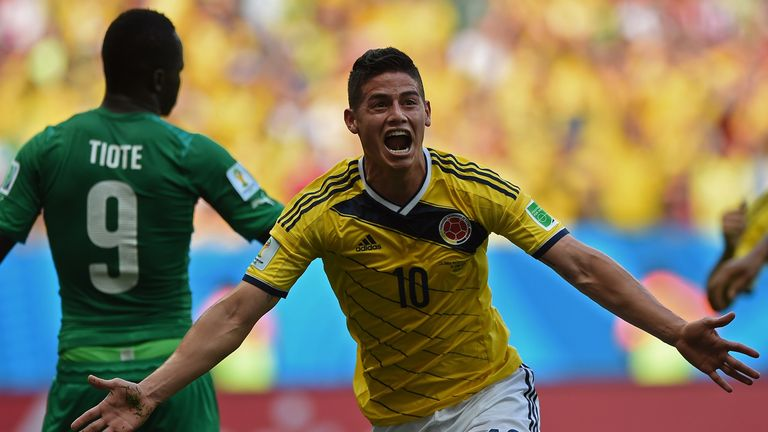 James Rodriguez: Celebrates scoring Colombia's opener