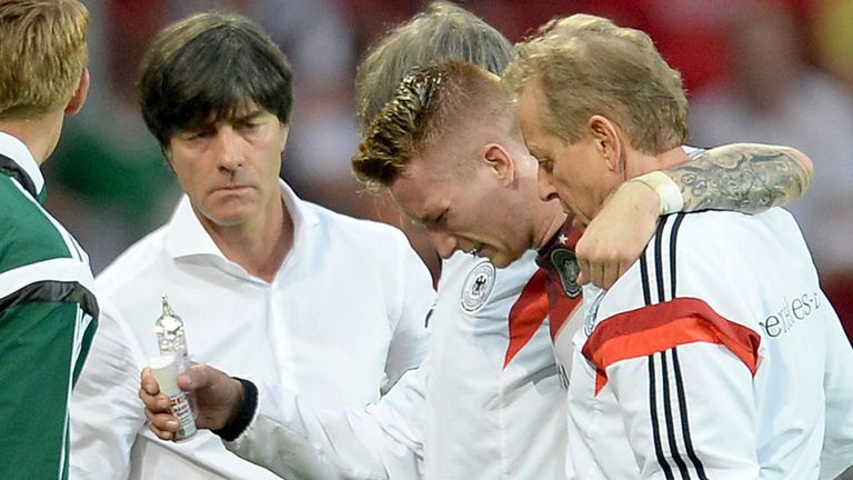 Marco Reus: Helped from the pitch after being injured in Germany's friendly