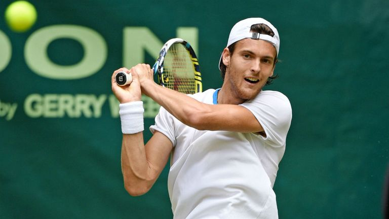Joao Sousa of Portugal reached the semi-finals of the Topshelf Open in Holland