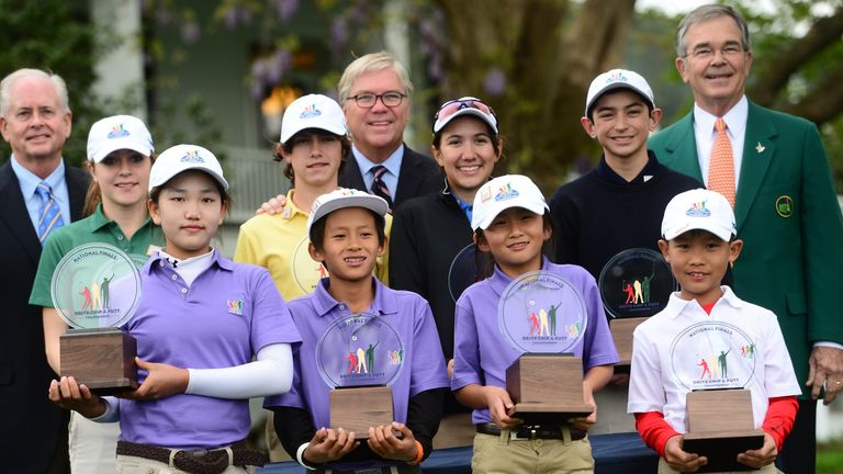 Lucy Li (front left) won the Girls 10-11 age division at the first ever Drive, Chip and Putt Championship at Augusta this year.