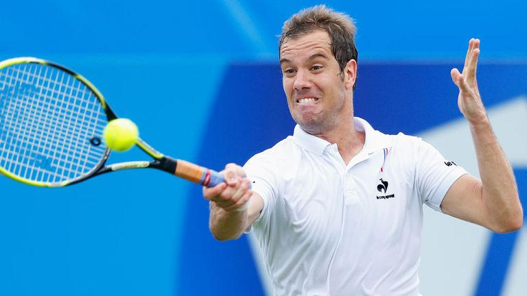 Richard Gasquet en route to victory over Bernard Tomic in Eastbourne