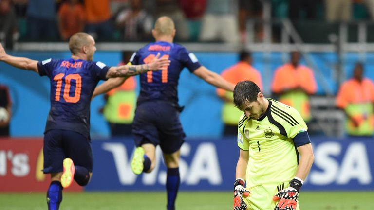 Arjen Robben runs away in celebration on a night of joy for the destructive Dutch