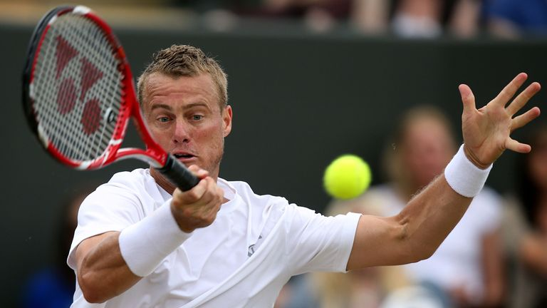 Lleyton Hewitt: Produced a battling display to advance in Newport