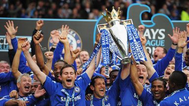 Frank Lampard lifts the 2010 Premier League title with John Terry