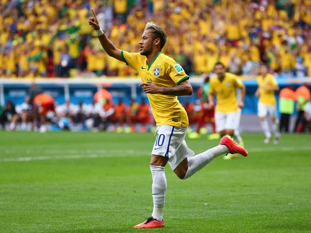 Neymar celebrates his first goal of the night