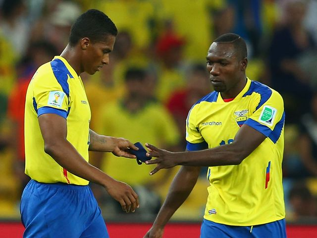 Ecuador's Antonio Valencia was sent off