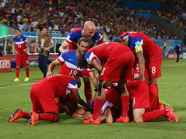 The United States celebrate John Brooks' winner