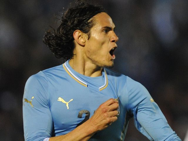 Edinson Cavani celebrates for Uruguay