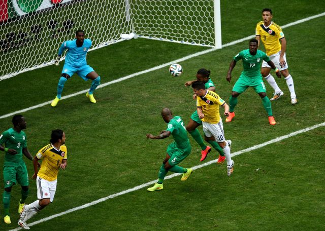 James Rodriguez of Colombia opened the scoring with a header