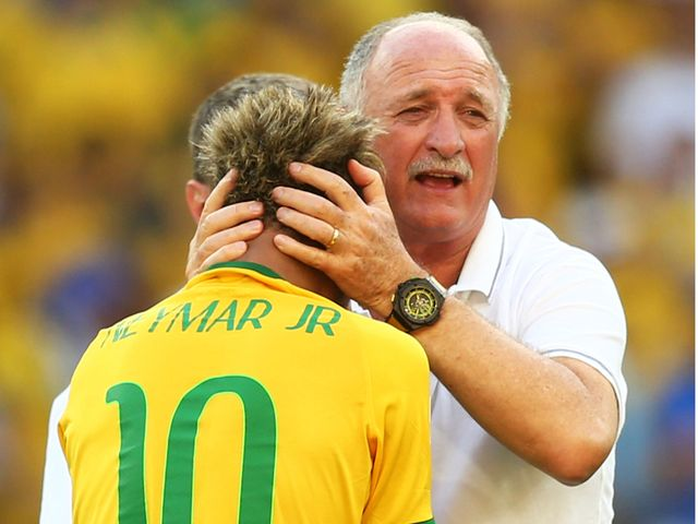 Head coach Luiz Felipe Scolari celebrates with Neymar