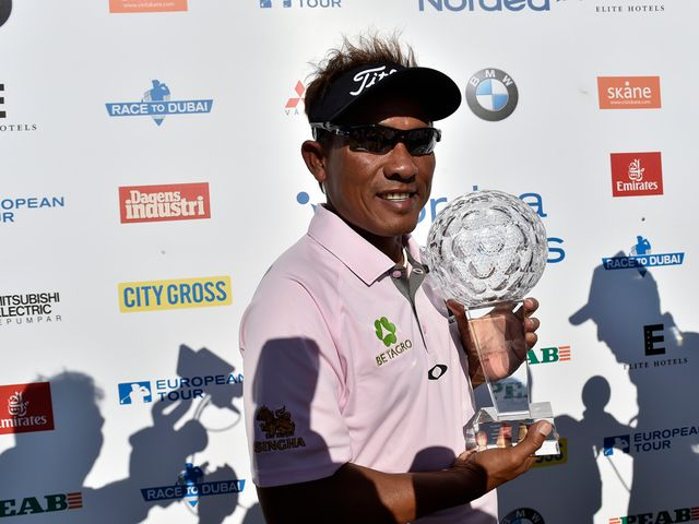 Thongchai Jaidee celebrates after winning the play-off at the Nordea Masters