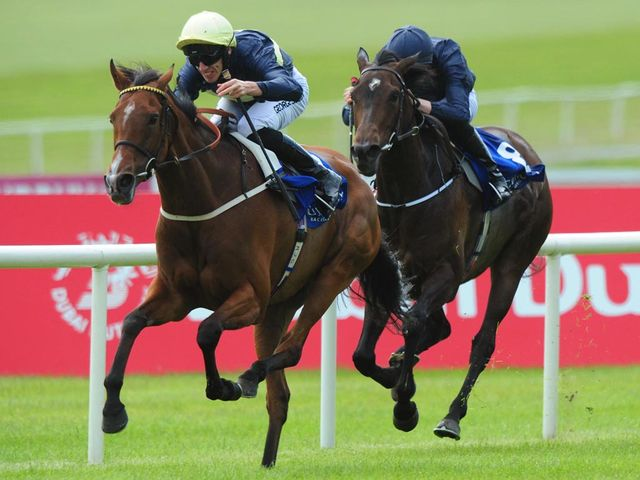 Thistle Bird and George Baker win the Newbridge Silverware Pretty Polly Stakes