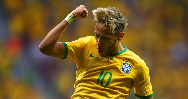 Neymar: Celebrates scoring for Brazil