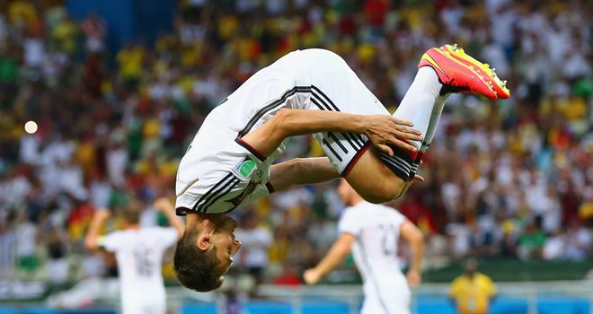 Miroslav Klose: Celebrates after equalising in Germany's draw with Ghana