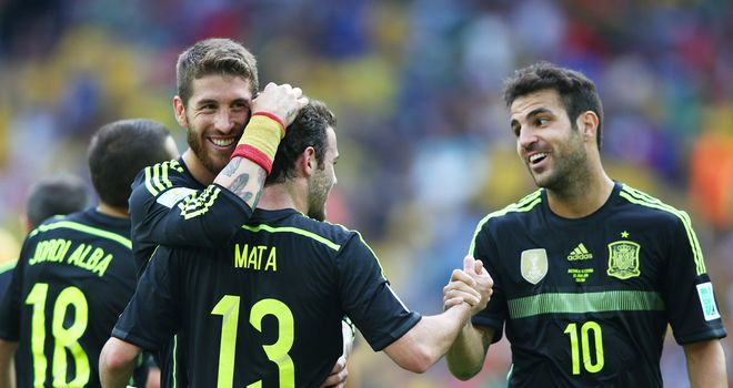 Spain: Mata congratulated after scoring third goal of the game