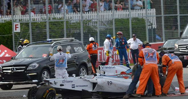 The crashed car of Felipe Massa