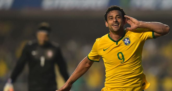 Fred: Striker celebrates scoring the only goal as Brazil beat Serbia