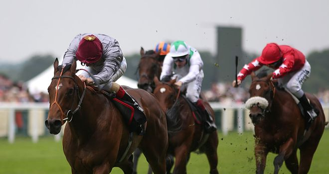Baitha Alga powers home in the Norfolk Stakes.