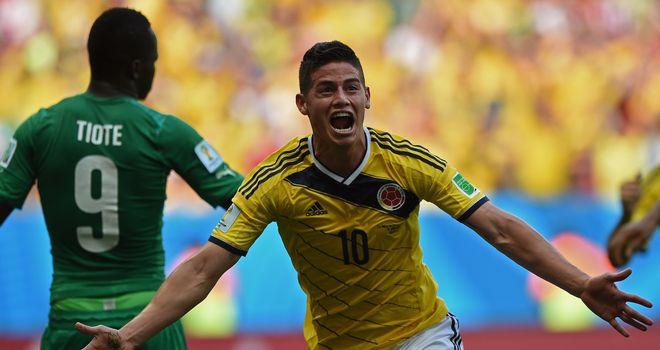 James Rodriguez: Celebrates scoring Colombia's opener