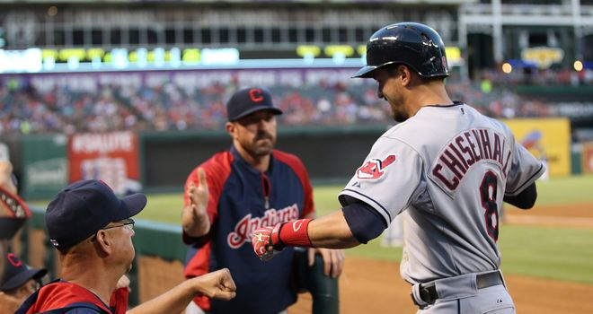 Cleveland Indians manager Terry Francona congratulates Lonnie Chisenhall