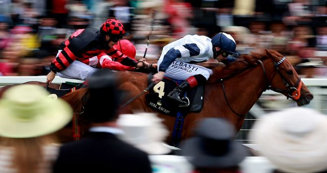 Anthem Alexander appears through the crowd to win the Queen Mary Stakes.