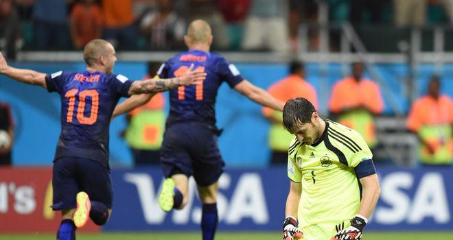 Iker Casillas: Left dejected after Arjen Robben's second goal