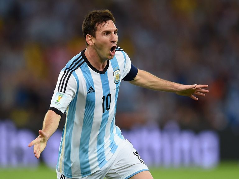 Lionel Messi enjoys his goal on Sunday